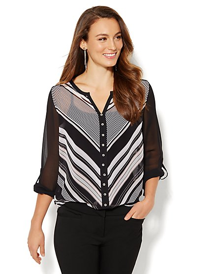 Split-Neck Blouse - Stripe  - New York & Company