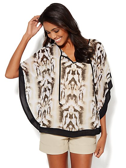 Split-Neck Caftan - Abstract Print  - New York & Company