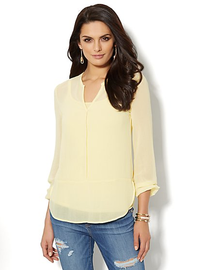 Split-Neck Chiffon Top  - New York & Company