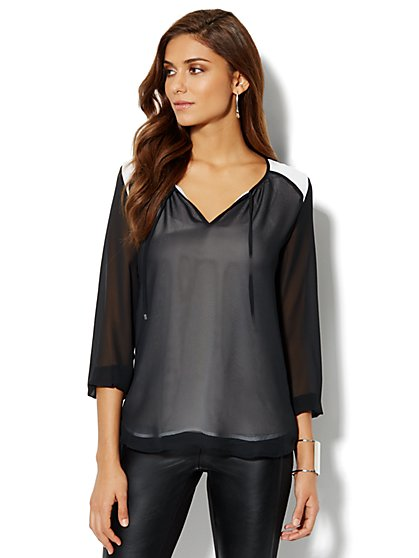 Split-Neck Colorblock Blouse