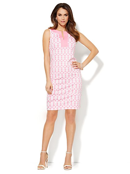 Split-Neck Cotton Dress - Geo Print - New York & Company