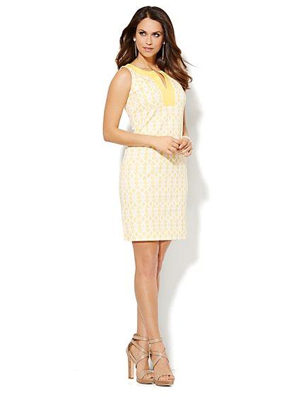 Split-Neck Cotton Dress - Geo Print - New York & Company