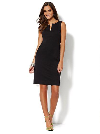 Split-Neck Cotton Dress - Solid - New York & Company