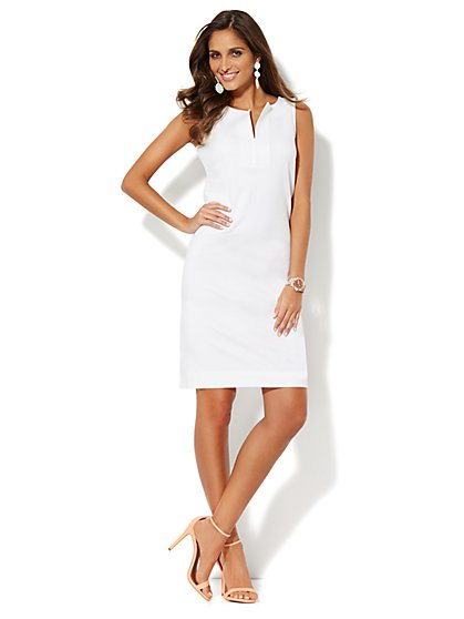 Split-Neck Cotton Dress - Solid - New York & Company