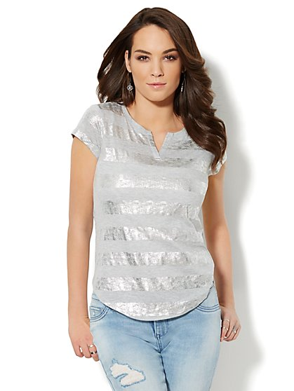 Split-Neck Cotton Tee - Metallic Stripe  - New York & Company