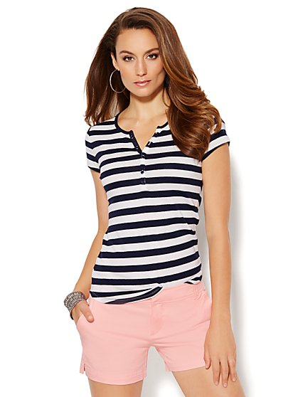 Split-Neck Henley Tee - Lurex Stripe  - New York & Company