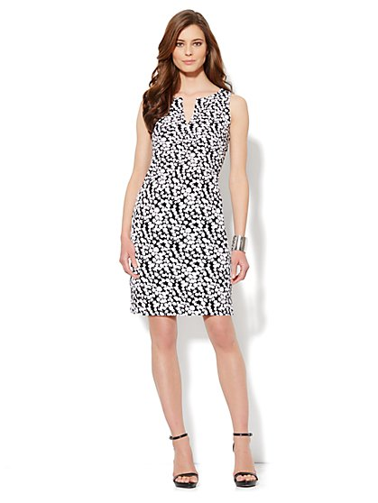 Split-Neck Interlock Dress - Floral