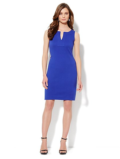 Split-Neck Interlock Dress