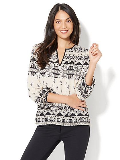 Split-Neck Peasant Blouse - Petite - New York & Company