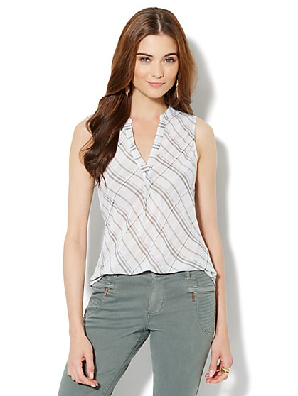 Split-Neck Popover Shell - Plaid