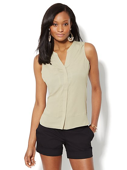 Split-Neck Seamed Blouse