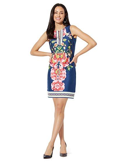 Split-Neck Shift Dress - Print - New York & Company