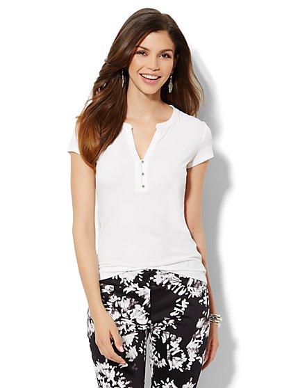 Split-Neck Short Sleeve Top  - New York & Company