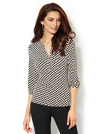 Split-Neck Soft Blouse - Diamond Print
