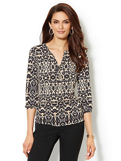 Split-Neck Soft Blouse - Leopard Print - New York & Company