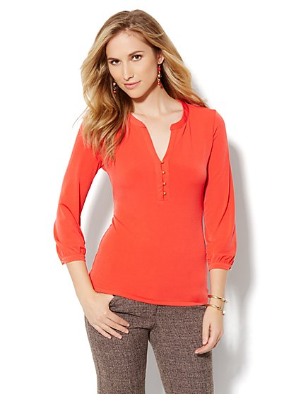 Split-Neck Soft Blouse - New York & Company