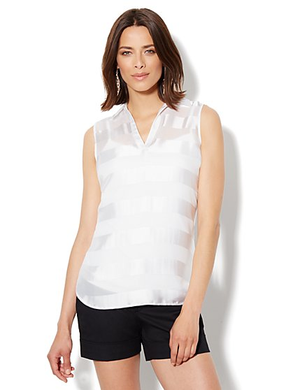 Split-Neck Stripe Top - New York & Company