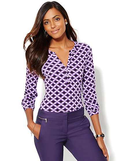 Split-Neck Top - Print  - New York & Company