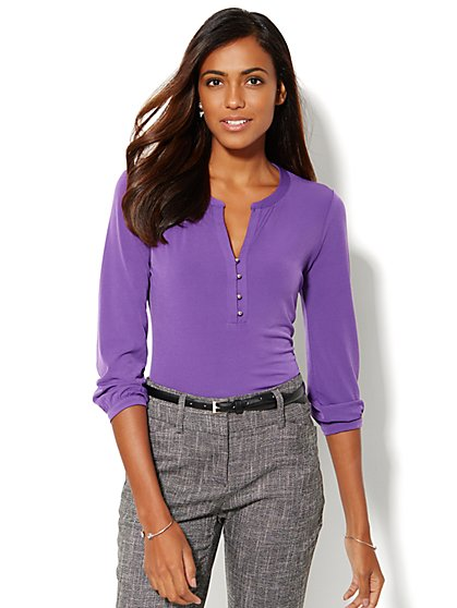 Split-Neck Top - New York & Company