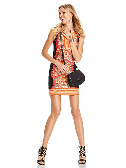 Split-Neck Tunic Dress - Print  - New York & Company