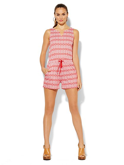 Splitneck Cotton Romper - Print  - New York & Company