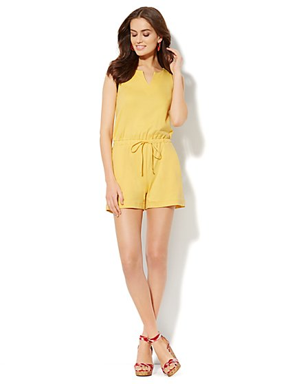 Splitneck Cotton Romper - Solid - New York & Company