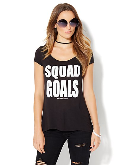 Squad Goals Graphic Logo Tee - Black  - New York & Company