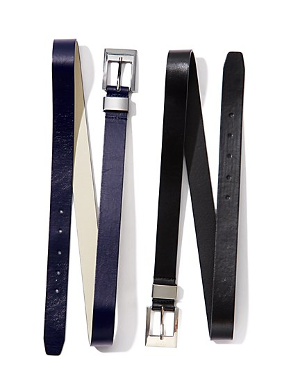 Square-Buckle Faux-Leather Belt - New York & Company