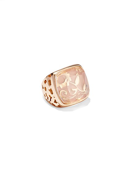 Square Floral-Motif Ring  - New York & Company