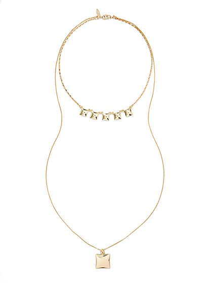 Square-Shaped Layered Necklace  - New York & Company