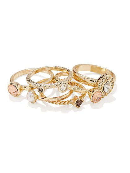 Stackable Faux-Stones Ring Set