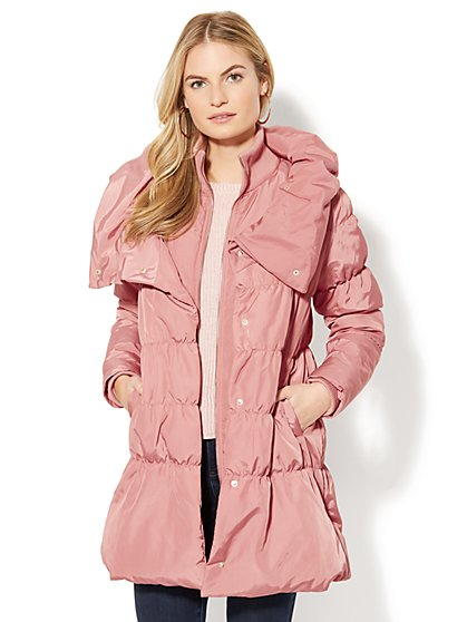 Stand-Collar Quilted Puffer Jacket - New York & Company