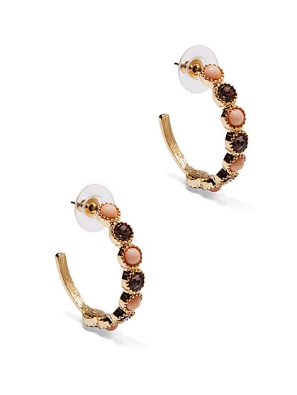 Stone-Accent Hoop Earrings  - New York & Company