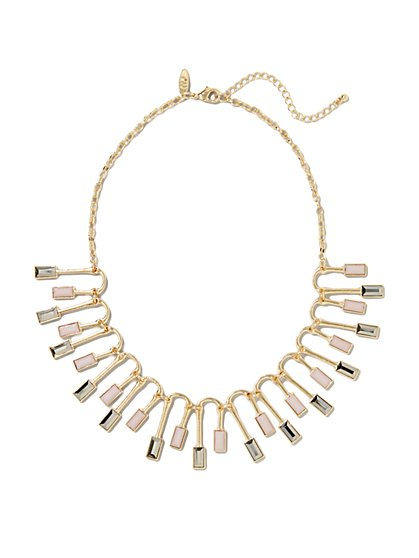 Stones & Geo Bars Fan Necklace - New York & Company