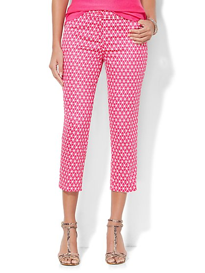 Straight-Leg Crop Pant - Graphic Print  - New York & Company