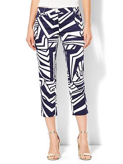 Straight-Leg Crop Pant - Print - Grand Sapphire  - New York & Company