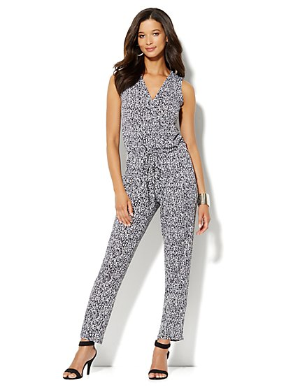 Straight-Leg Wrap Jumpsuit – Abstract Print