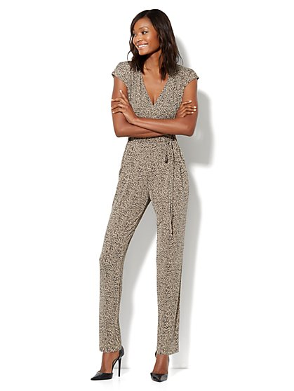 Straight-Leg Wrap Jumpsuit - Print - New York & Company