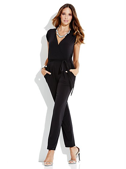 Straight-Leg Wrap Jumpsuit