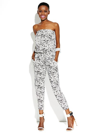 Strapless Abstract-Print Jumpsuit - New York & Company