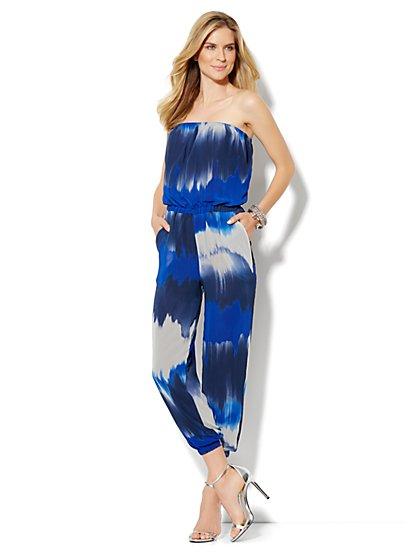 Strapless Chiffon Print Jumpsuit - New York & Company