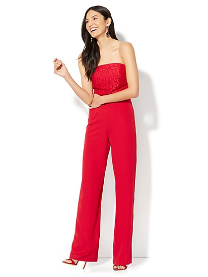 Strapless Lace-Accent Jumpsuit - Red - New York & Company