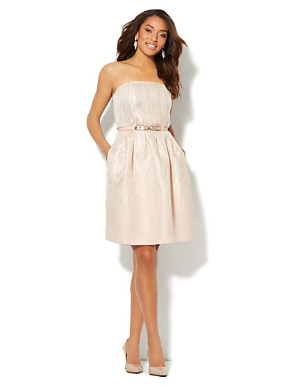 Strapless Metallic-Ribbons Flare Dress  - New York & Company
