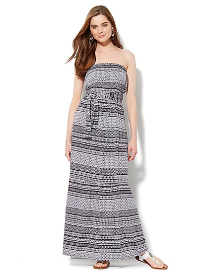Strapless Mix-Print Maxi Dress