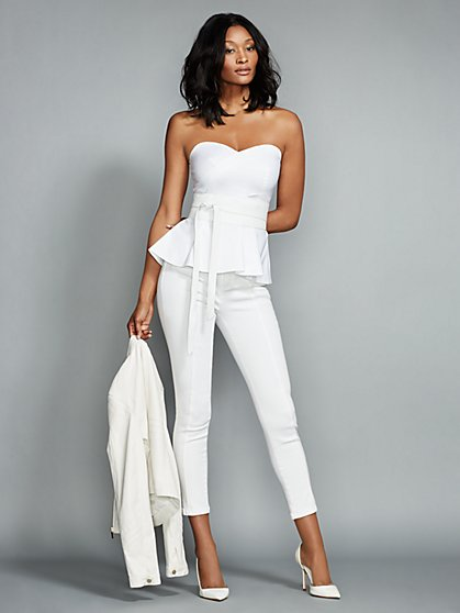 Strapless Peplum Top - Optic White  - New York & Company