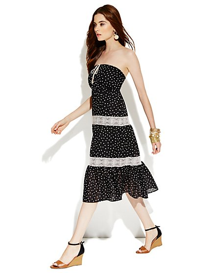 Strapless Polka-Dot Gauze Dress