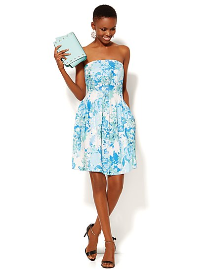 Strapless Scuba Dress - Floral - New York & Company