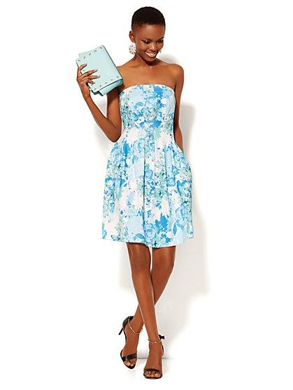 Strapless Scuba Dress - Floral - New York & Company
