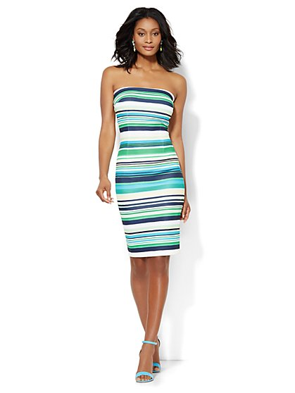 Strapless Sheath Dress - Stripe - New York & Company