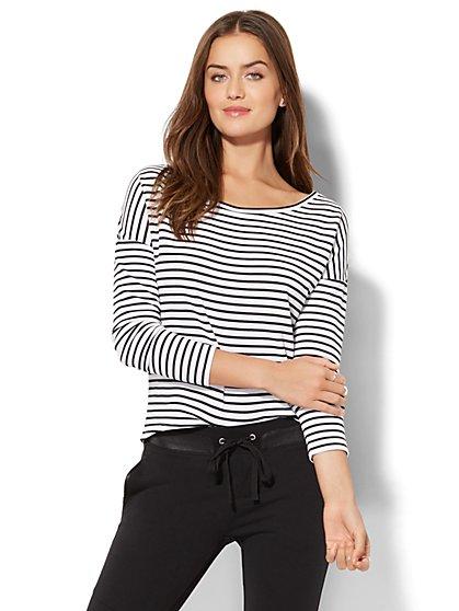 Street Wear - Ribbed-Knit Dolman Top - Stripe - New York & Company